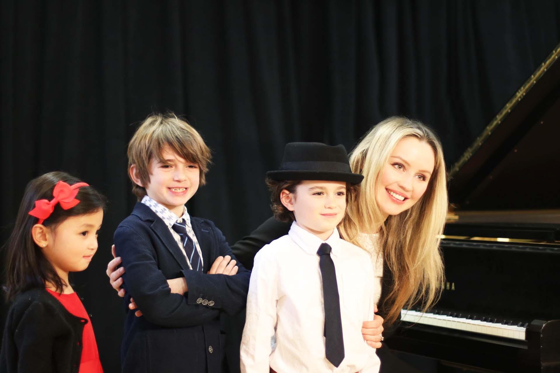 Piano students and Yuliya Higginbotham