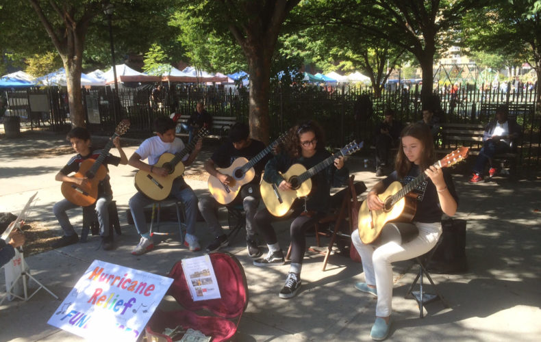 Guitar students busking for hurricane relief!